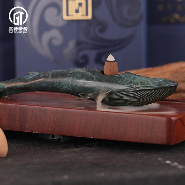 銅器擺件抹香鯨熏香
